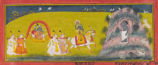 An image of A princely procession to visit a yogi