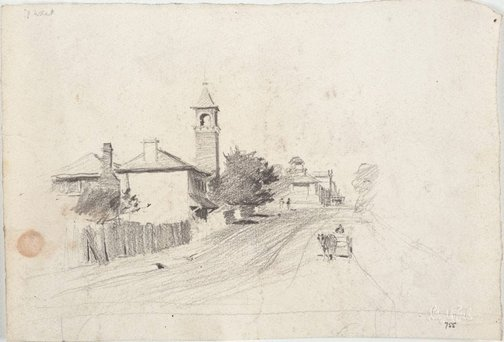 An image of George Street with Old Court House Tower, Parramatta by Lloyd Rees