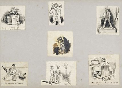An image of Seven caricatures