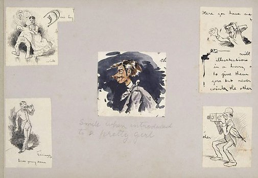 An image of Five caricatures by Lyonel Feininger
