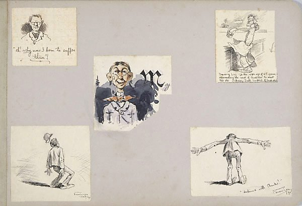 An image of Five caricatures