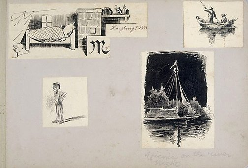 An image of Four caricatures by Lyonel Feininger