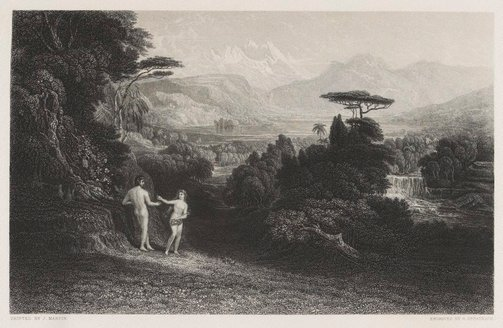 An image of The Fall of Man by George Greatbach, after John Martin