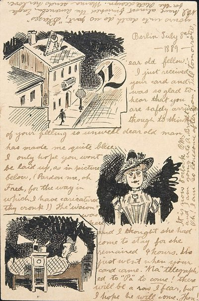 An image of Postcard illustrated with drawing (Berlin, 8.7.1889) by Lyonel Feininger