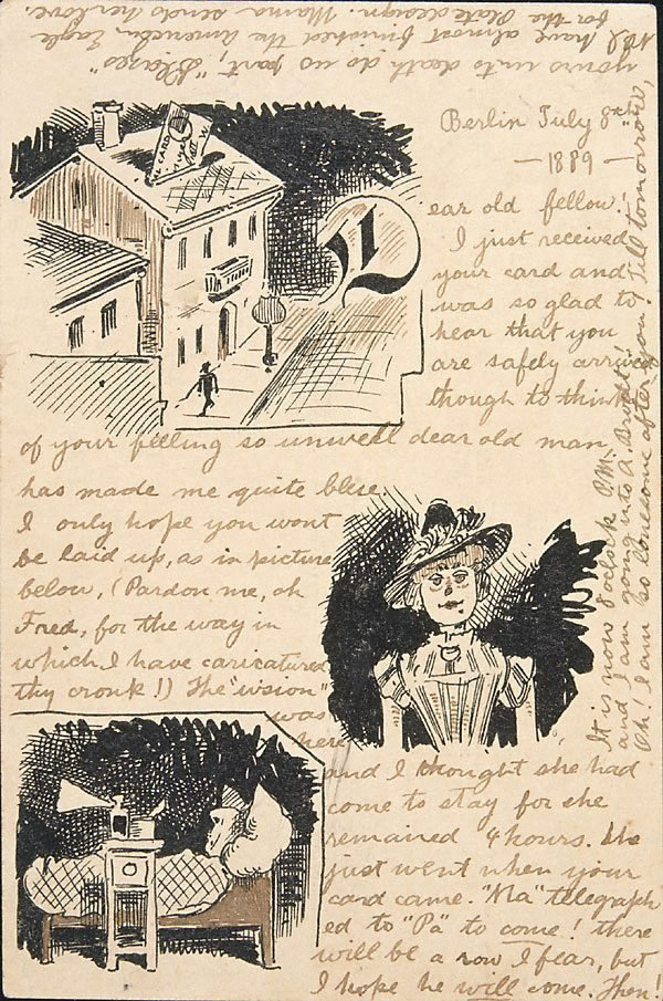An image of Postcard illustrated with drawing (Berlin, 8.7.1889)