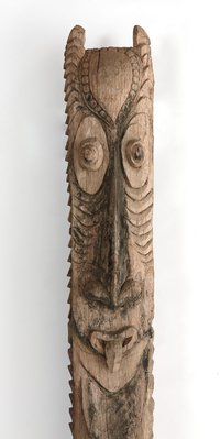 Alternate image of Jambukrikwaru (house post with owl face) by Iatmul people