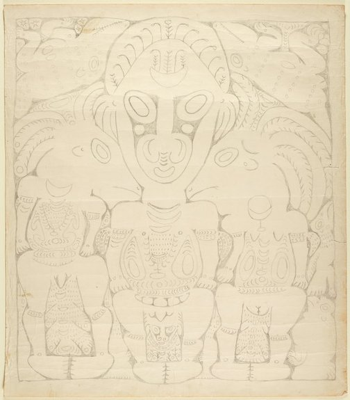 An image of Mopul and spirit figures by Simon Nowep