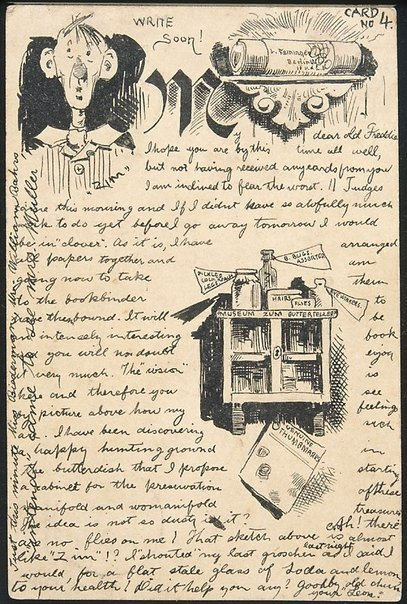 An image of Postcard illustrated with drawing (Harzburg, 12.7.1889) by Lyonel Feininger