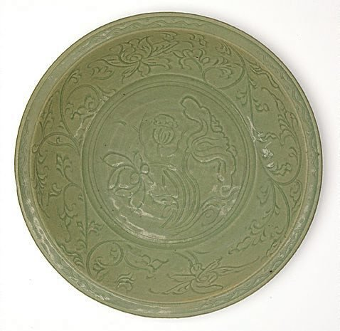 An image of Dish with carved lotus design
