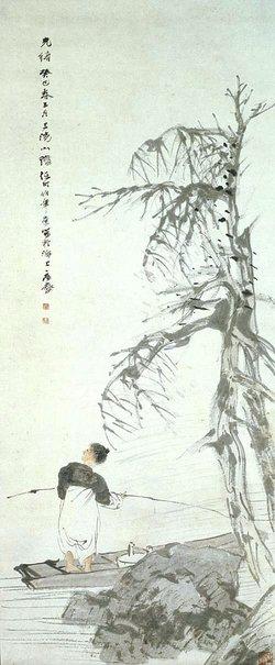 An image of Figure in a boat under a wintry tree by Ren Bonian