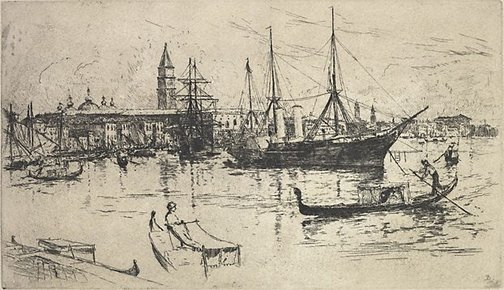 An image of View of shipping, Venice by Frank Duveneck