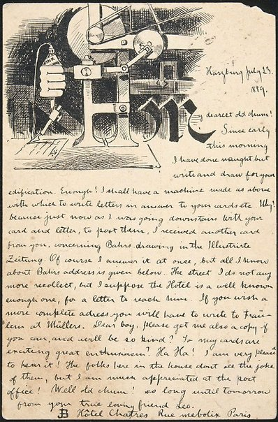 An image of Postcard illustrated with drawing (Harzburg, 23.7.1889) by Lyonel Feininger