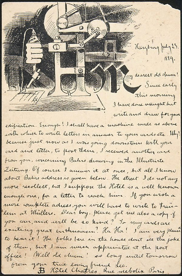 An image of Postcard illustrated with drawing (Harzburg, 23.7.1889)