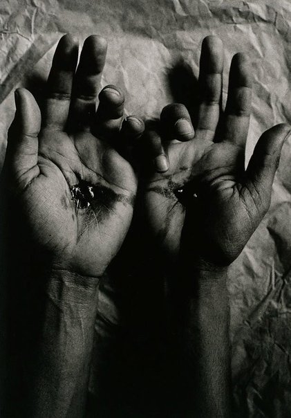 An image of Untitled (crucified hands) by Michael Riley
