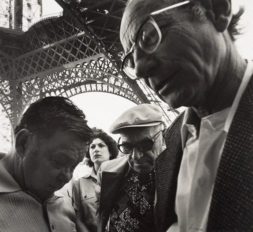 An image of Untitled (group of people near the Eiffel tower) by Max Dupain