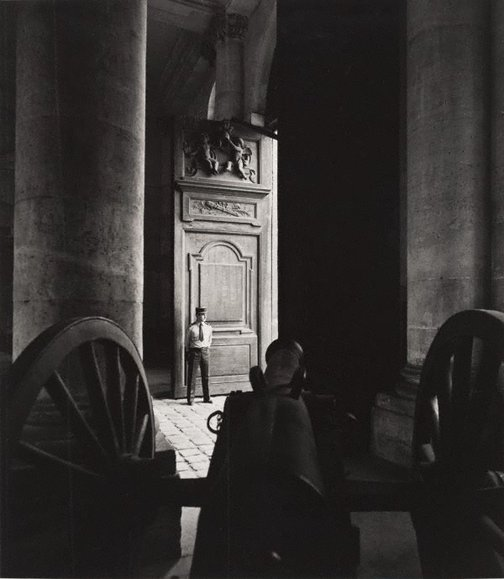 An image of Untitled (cannon with a guard standing in a doorway) by Max Dupain