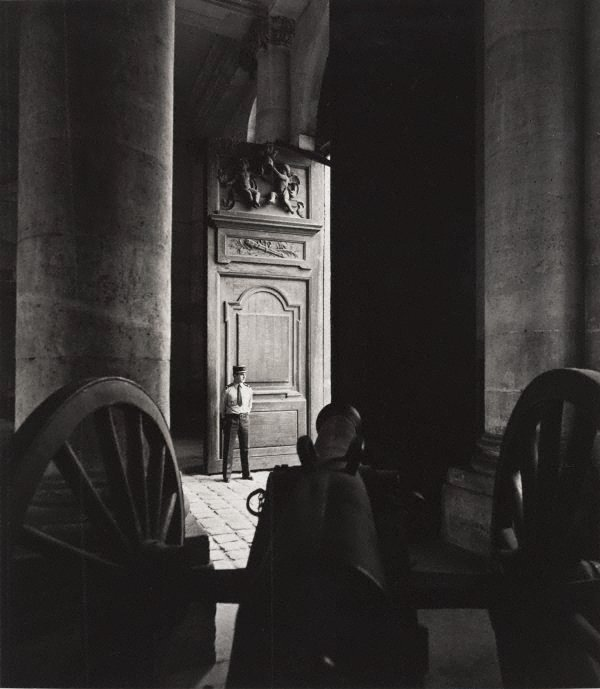 An image of Untitled (cannon with a guard standing in a doorway)