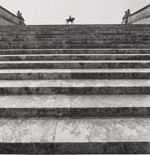 An image of Untitled (staircase and statue of Anne de Montmorency 1886 by Paul Dubois, Domaine de Chantilly) by Max Dupain