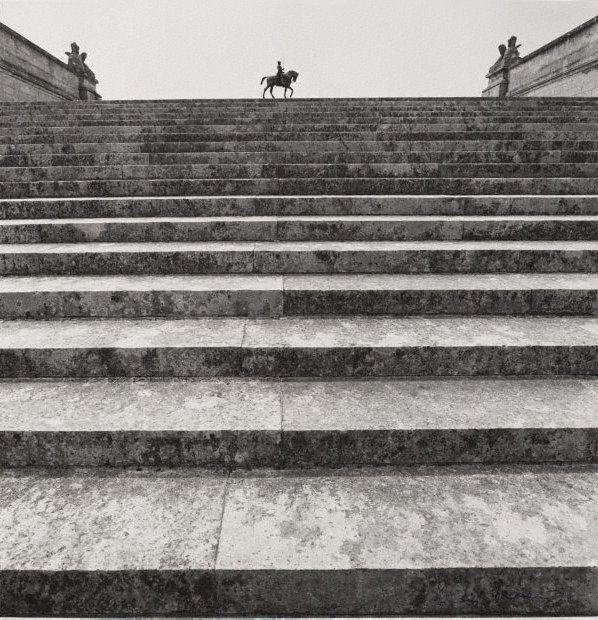 An image of Untitled (staircase and statue of Anne de Montmorency 1886 by Paul Dubois, Domaine de Chantilly)