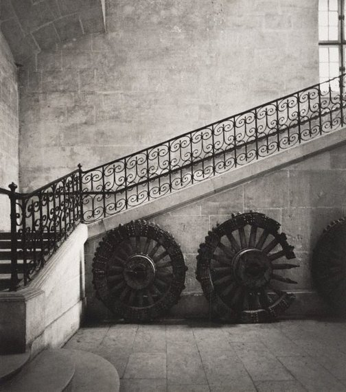 An image of Untitled (interior staircase and cart wheels) by Max Dupain