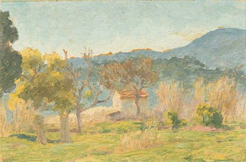 An image of Sketch for 'Cemetery, south of France' by Rupert Bunny