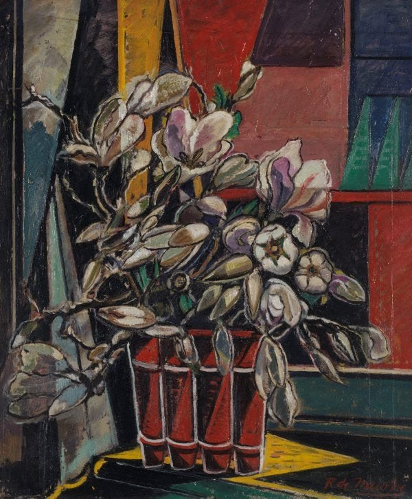An image of Magnolias in red vase