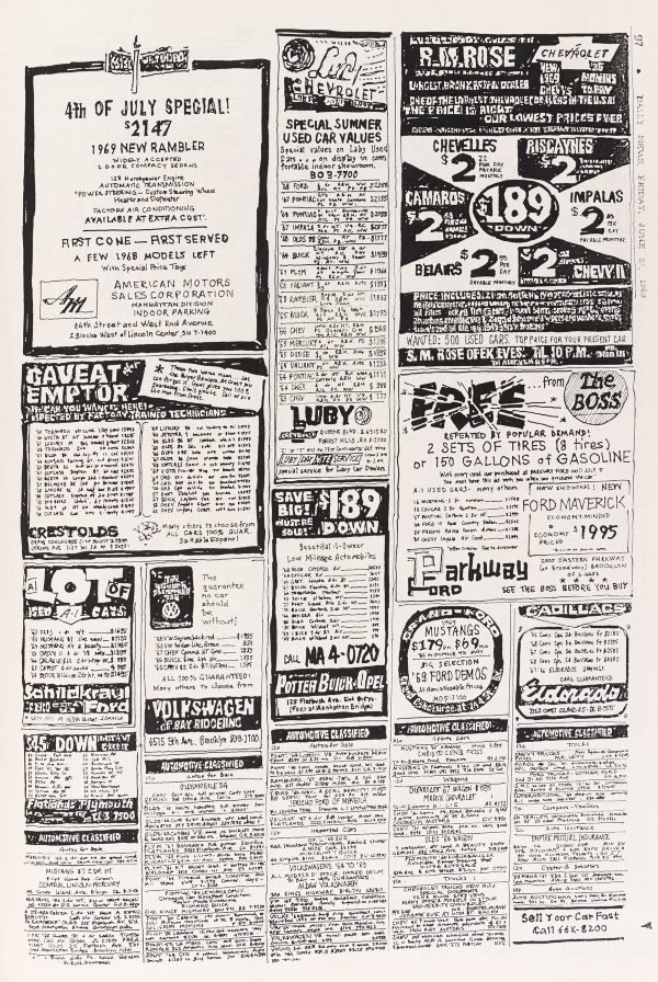 An image of The New York Daily News on the day before the Stonewall Riot copied by hand from microfilm records