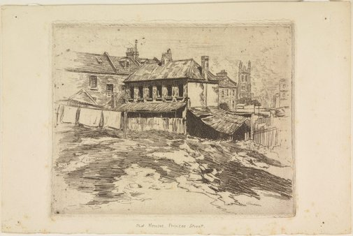 An image of Old house off Princes Street, The Rocks by Sydney Ure Smith