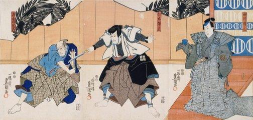 An image of (Kabuki scene from Meiboku Sendaihagi) by Utagawa Kunisada/Toyokuni III