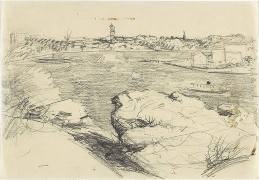 An image of recto: Study for 'The summit, Ball's Head' or 'Dusk on the Harbour' verso: [rubbed with soft pencil] by Lloyd Rees