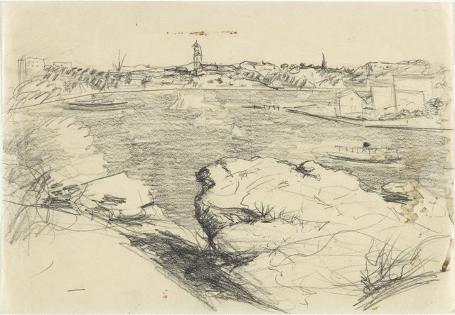 An image of recto: Study for 'The summit, Ball's Head' or 'Dusk on the Harbour' verso: [rubbed with soft pencil]