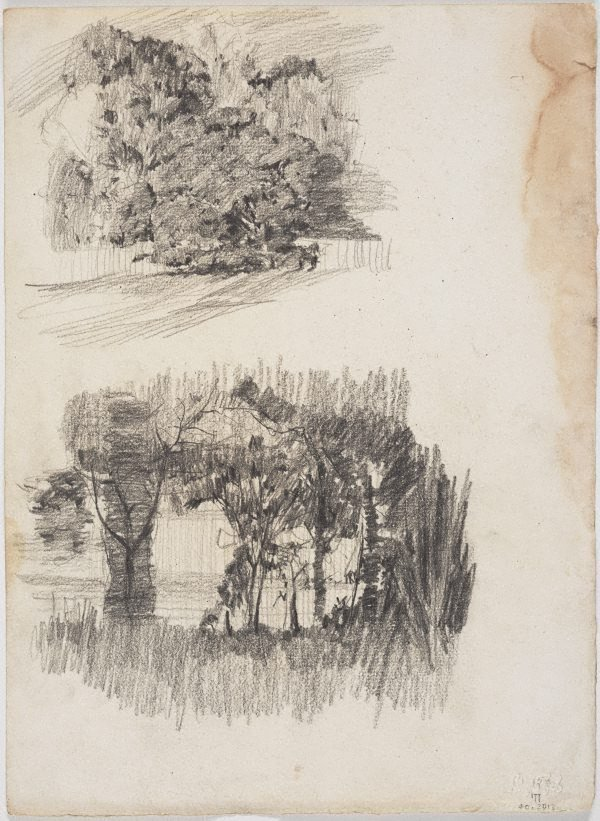 An image of recto: Classic head in profile and a Face verso: Trees with fence and Landscape
