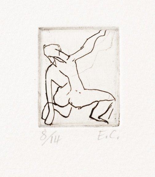 An image of Kneeling nude from back by Elisabeth Cummings