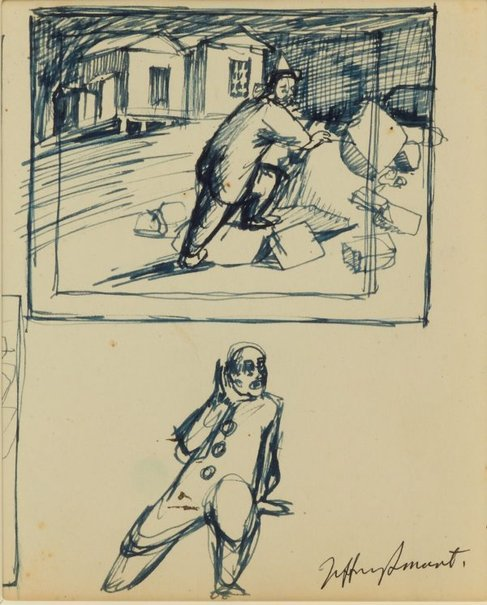 An image of Studies for 'Clown in the ruins' 1957 by Jeffrey Smart
