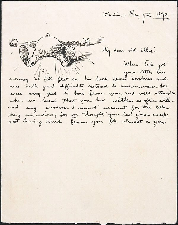 An image of Unfinished letter illustrated with drawing (Berlin 9.5.1890)