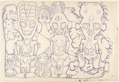 An image of Wain, Mopul's brother (centre), follower of Wain (left), 'deman' spirit (upper left), female spirit (right) by Simon Nowep