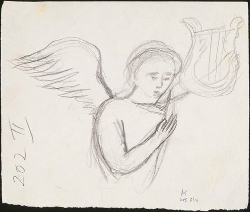 An image of recto: Study for etching 'Angel bearing a palm branch' verso: Study for etching 'A hand holding dividers' by David Strachan