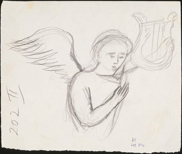 An image of recto: Study for etching 'Angel bearing a palm branch' verso: Study for etching 'A hand holding dividers'
