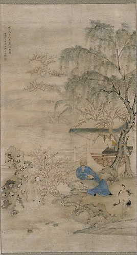 An image of Scholar seated in his garden by Jin Tingbiao
