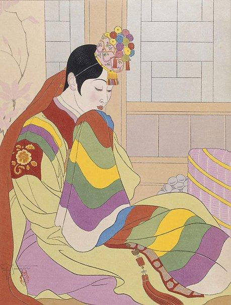 An image of La Mariée Seoul, Corée by Paul Jacoulet