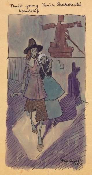 An image of Timid young Vander Sheepshank's courtship by Lyonel Feininger