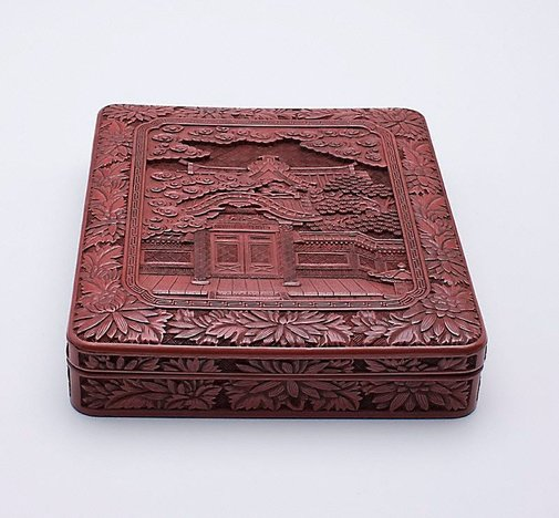 An image of Covered box with design of Chinese Gate at Nikkô Shrine by Meiji export crafts