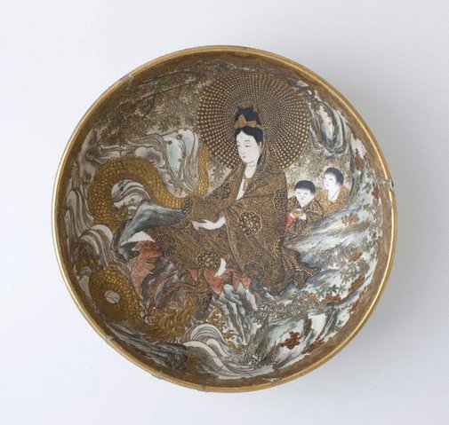 An image of Large bowl with design of seated Kannon by Hosai, Satsuma ware