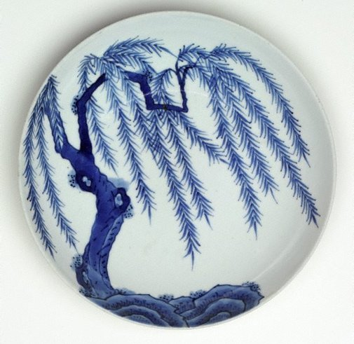 An image of Dish with design of willow tree by Arita ware/ Nabeshima style