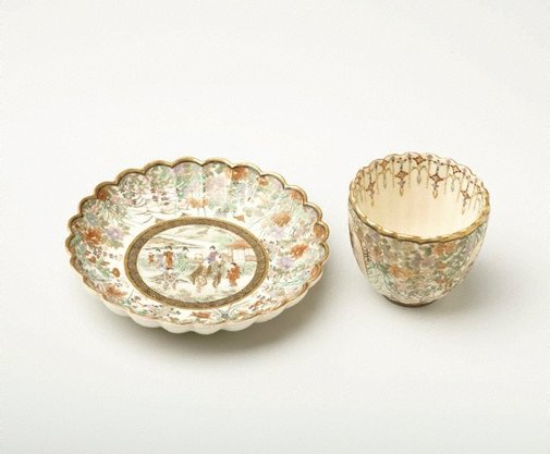 An image of Cup and saucer by Satsuma ware