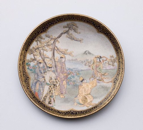 An image of Cigar tray with design of landscape scene by KÔZAN, Satsuma ware