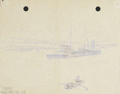 An image of From London Bridge, looking down at the water by Lyonel Feininger