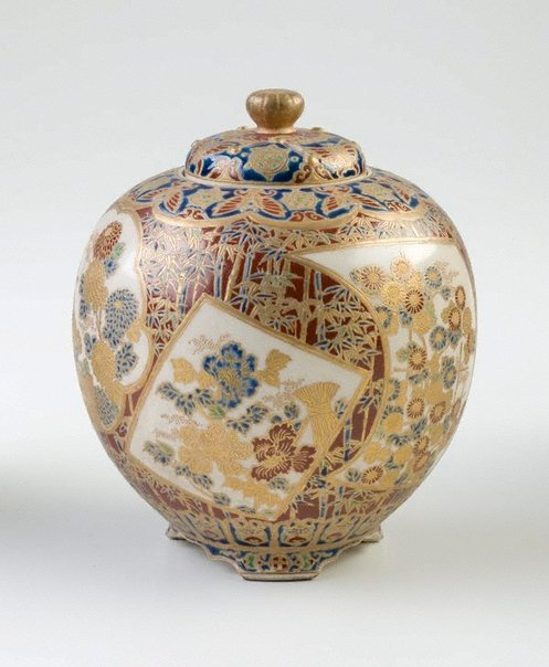An image of Incense burner with design of flowers and bamboo by Satsuma ware