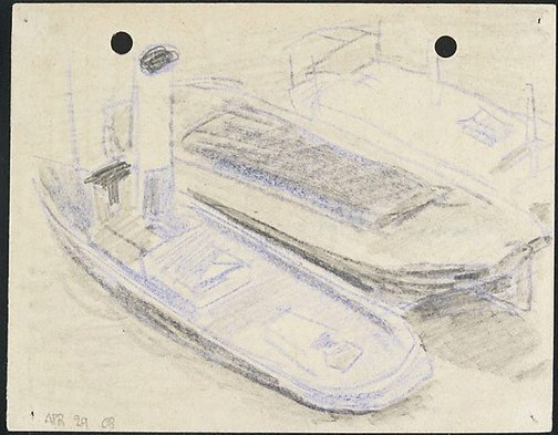 An image of London tug boat on the Thames River by Lyonel Feininger