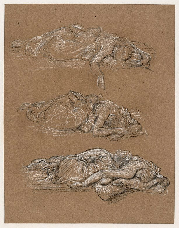 An image of Three studies of sleeping girls for the painting 'Cymon and Iphigenia'